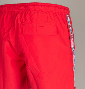Emporio Armani Logo Taping Swim Shorts Red