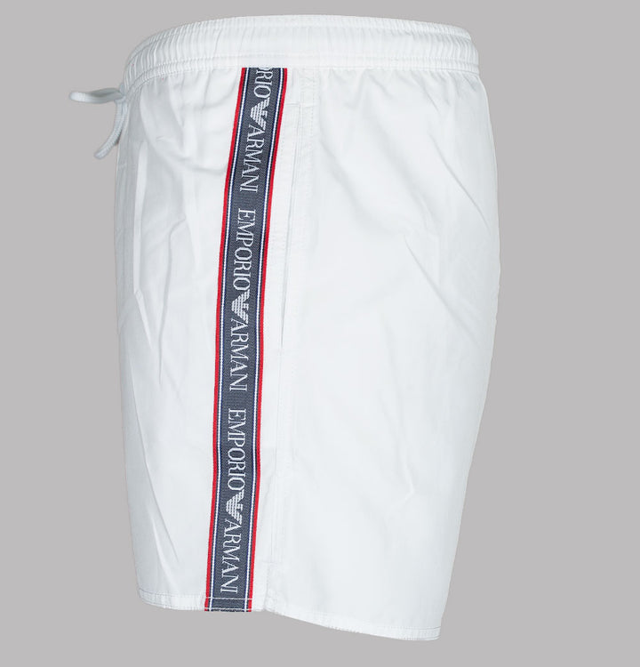 Emporio Armani Logo Taping Swim Shorts White