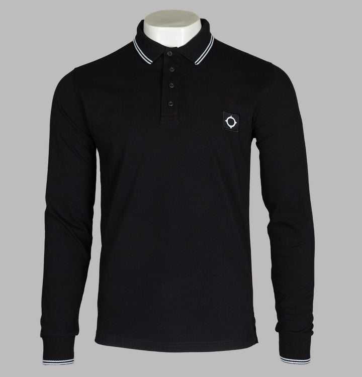 Ma.Strum L/S Jersey Polo Shirt Jet Black