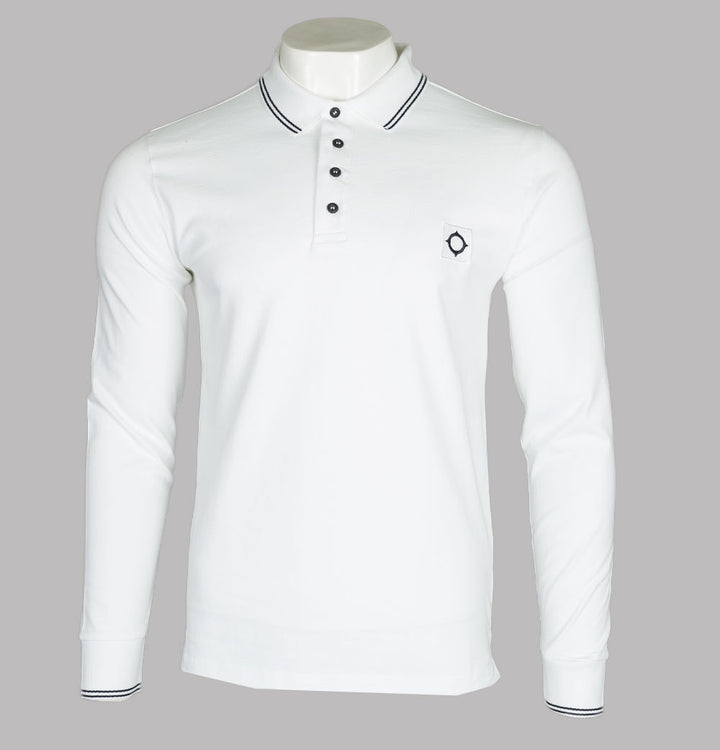 Ma.Strum L/S Jersey Polo Shirt Optic White