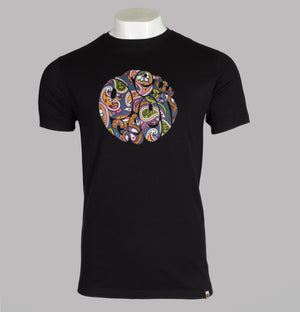 Pretty Green Paisley Print Logo T-Shirt Black