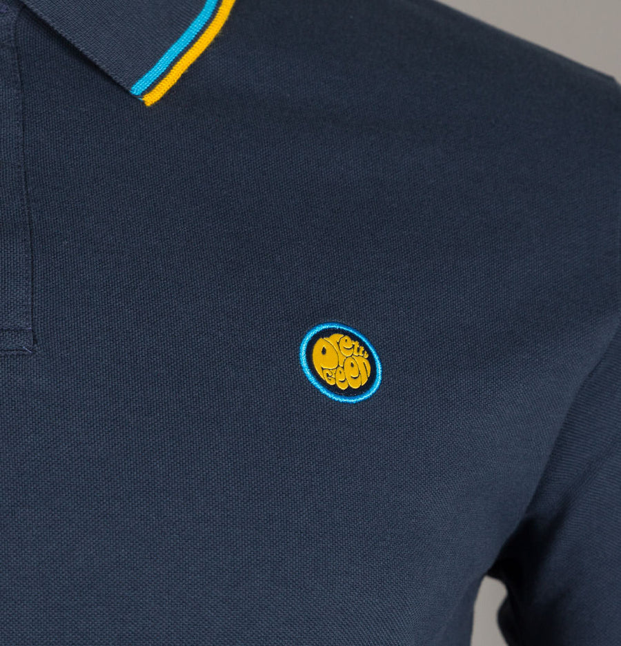 Pretty Green Tipped Pique Polo Shirt Navy/Blue