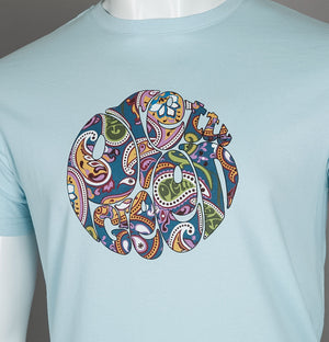 Pretty Green Paisley Print Logo T-Shirt Sky Blue