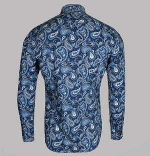 Pretty Green Slim Fit Paisley Print Shirt Navy