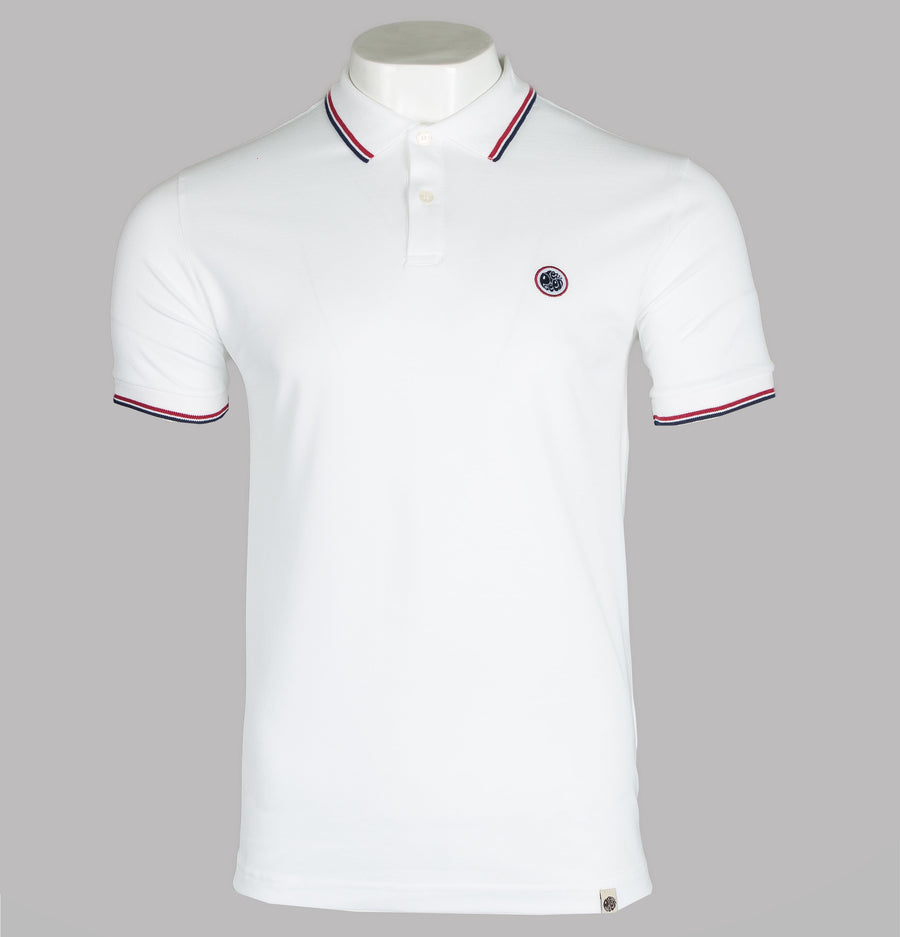 Pretty Green Tipped Pique Polo Shirt White/Red