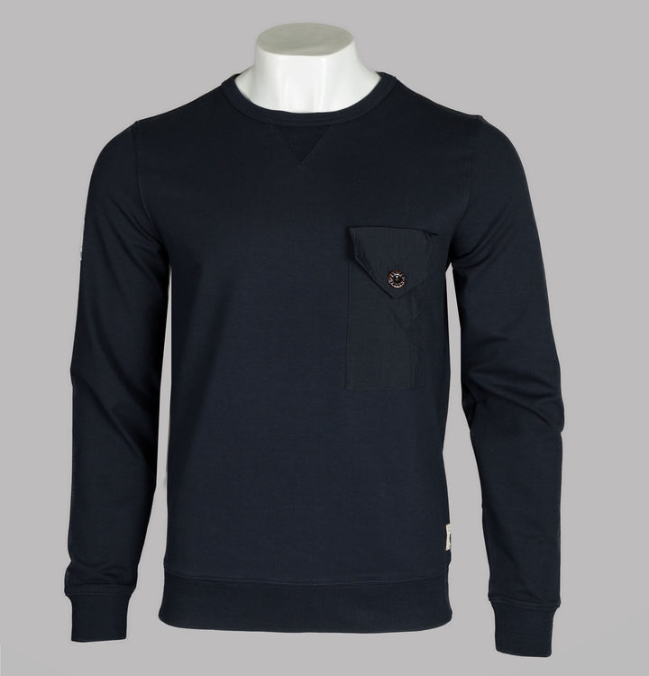 Woven Pocket Crew Neck Sweatshirt