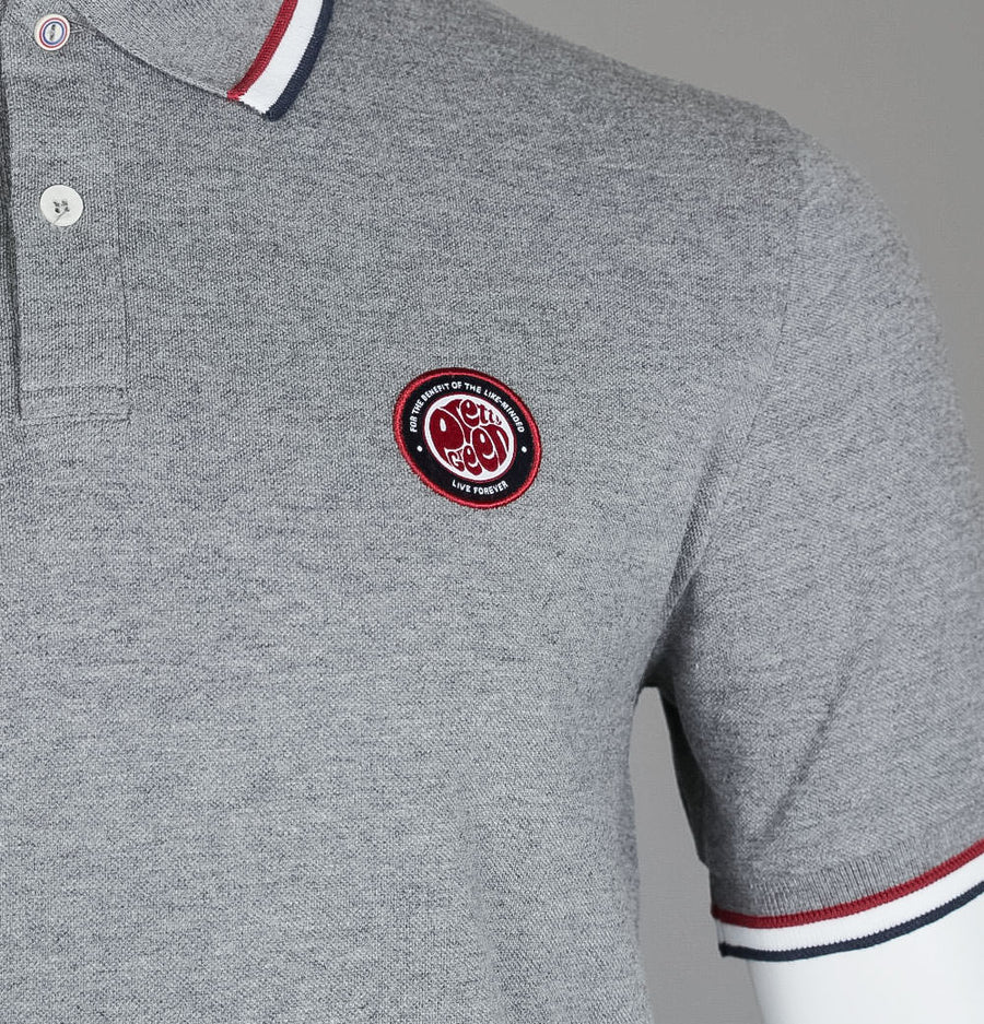 Pretty Green Likeminded Chest Badge Polo Shirt Grey