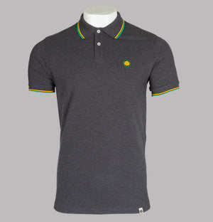 Pretty Green Tipped Pique Polo Shirt Dark Grey/Yellow