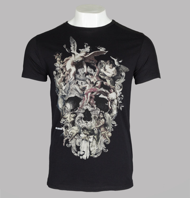 Religion Cherubs Skull T-Shirt Black