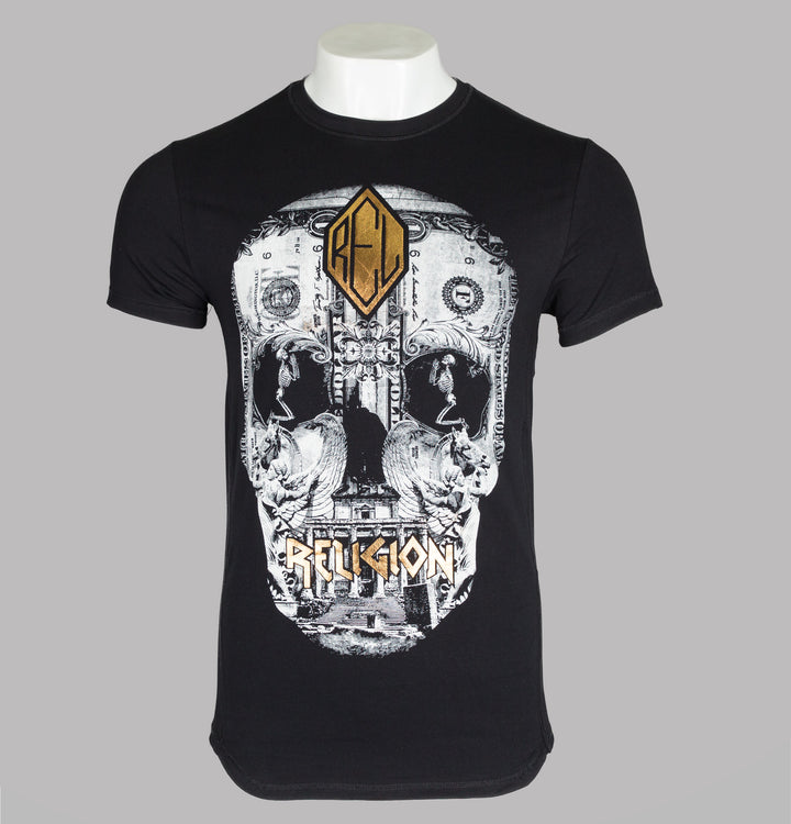 Religion Posterized Skull T-Shirt Black