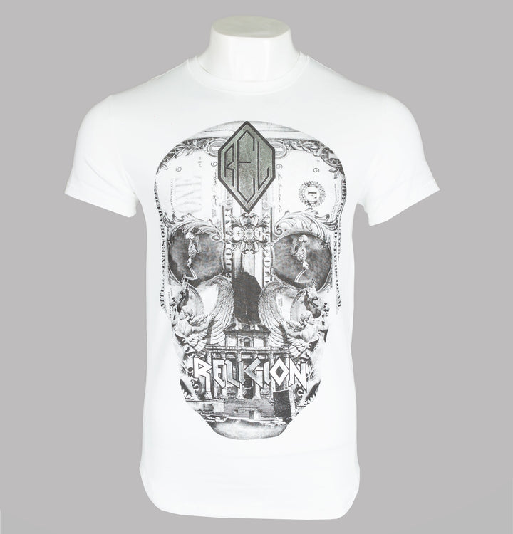 Religion Posterized Skull T-Shirt White