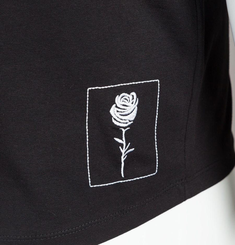 Rose London Vertical Stripe T-Shirt Black