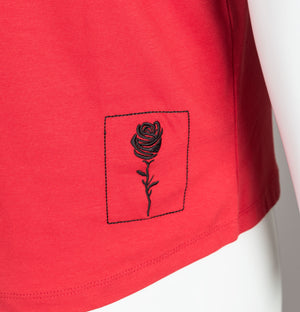 Rose London Vertical Stripe T-Shirt Red