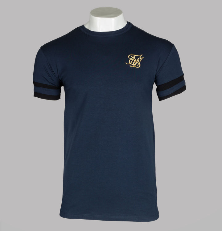 Sik Silk Reverse Collar Box Stripe Tee Navy