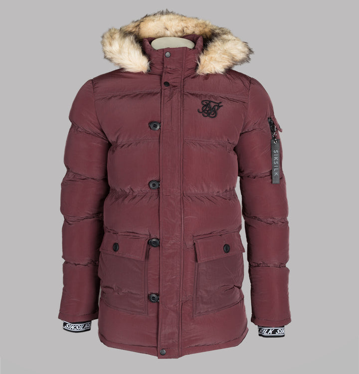 Sik Silk Shiny Puff Parka Burgundy