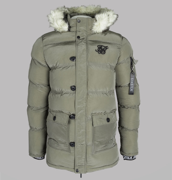 Sik Silk Shiny Puff Parka Light Khaki