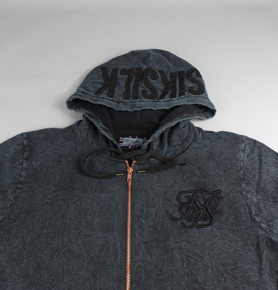 Sik Silk Acid Wash Long Zip Hood