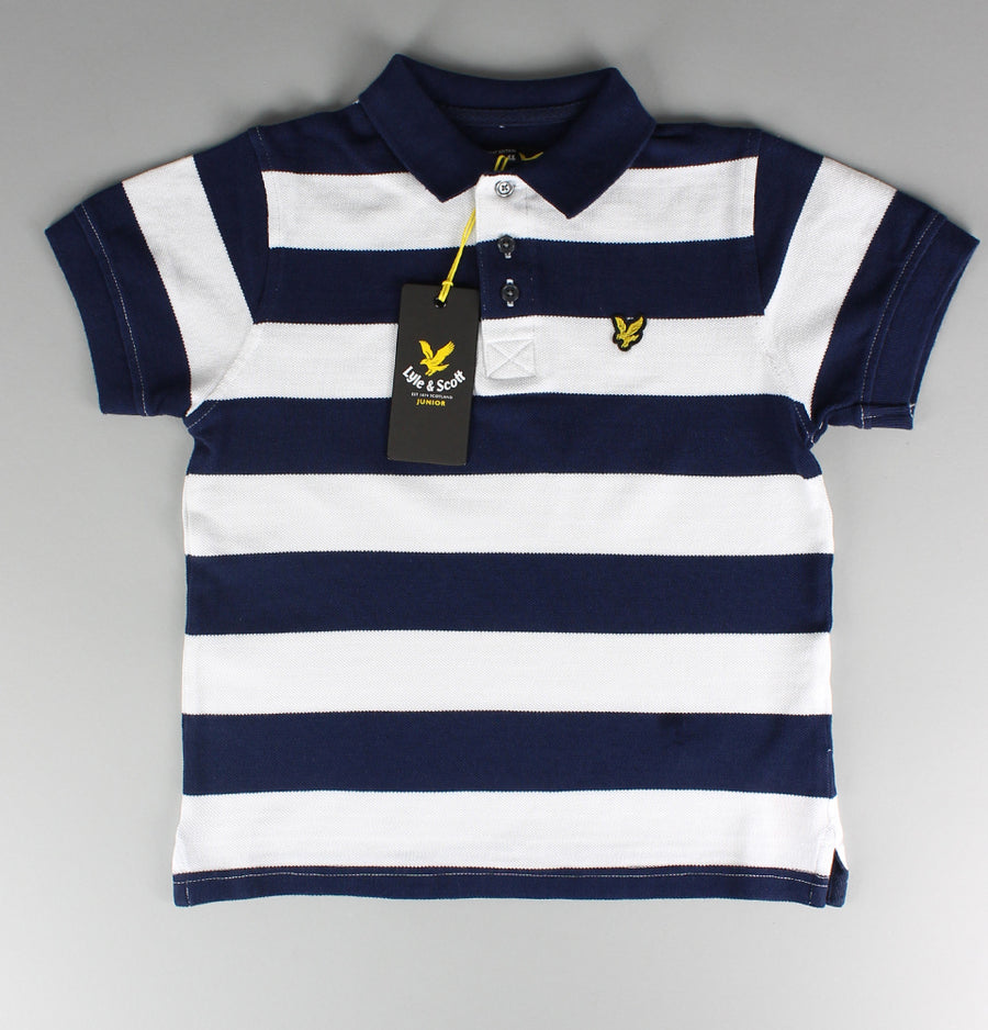 Block Stripe Polo Shirt - Blue