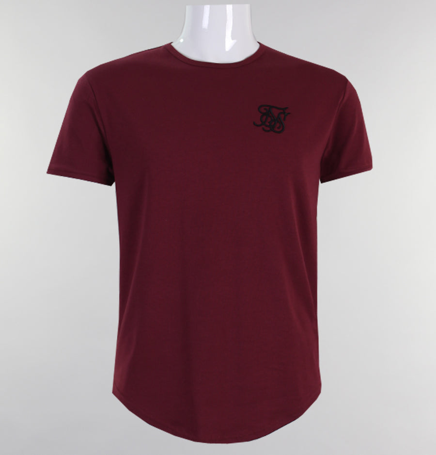 Sik Silk Short Sleeve Gym Tee Burgundy
