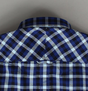 Fred Perry Herringbone Gingham Shirt Mid Blue