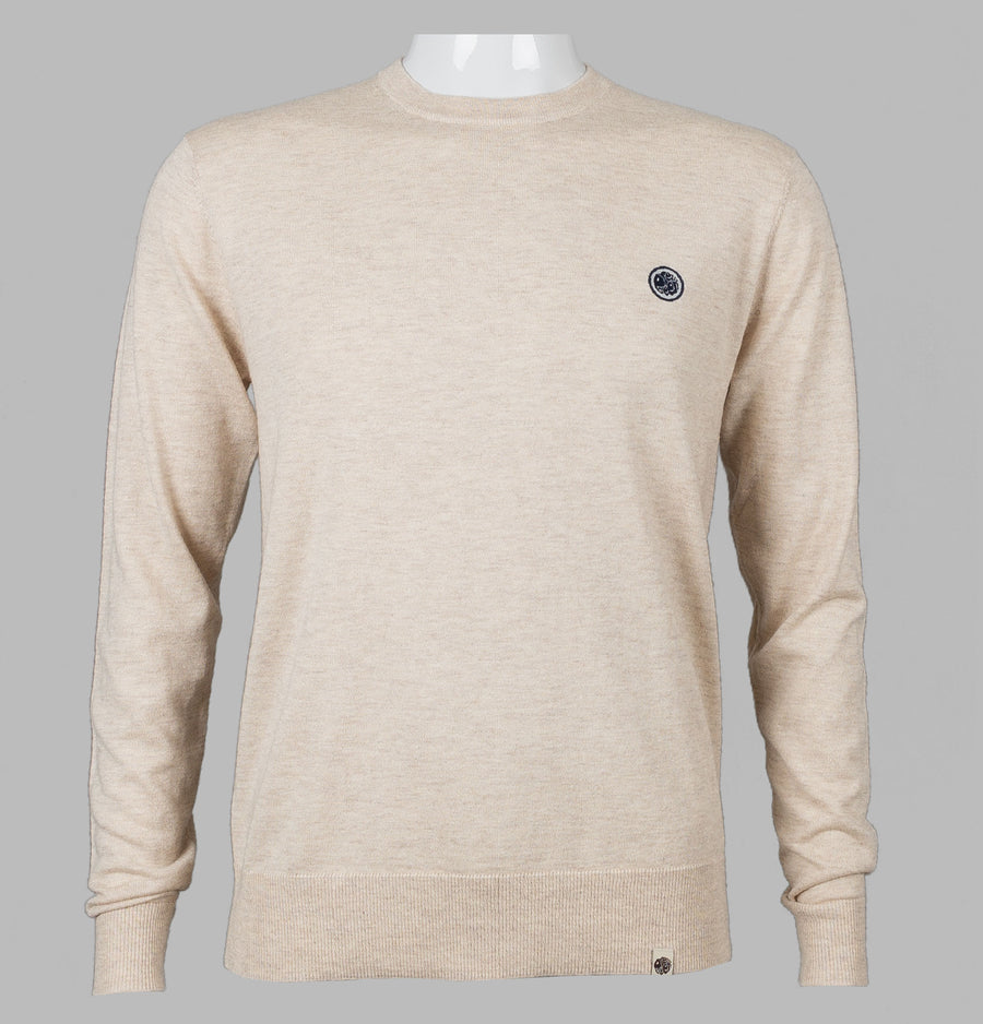 Pretty Green Hinchcliffe Crew Neck Knit Jumper Light Stone
