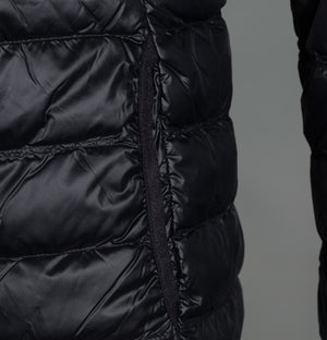 EA7 Quilted Down Hooded Jacket Black/Silver