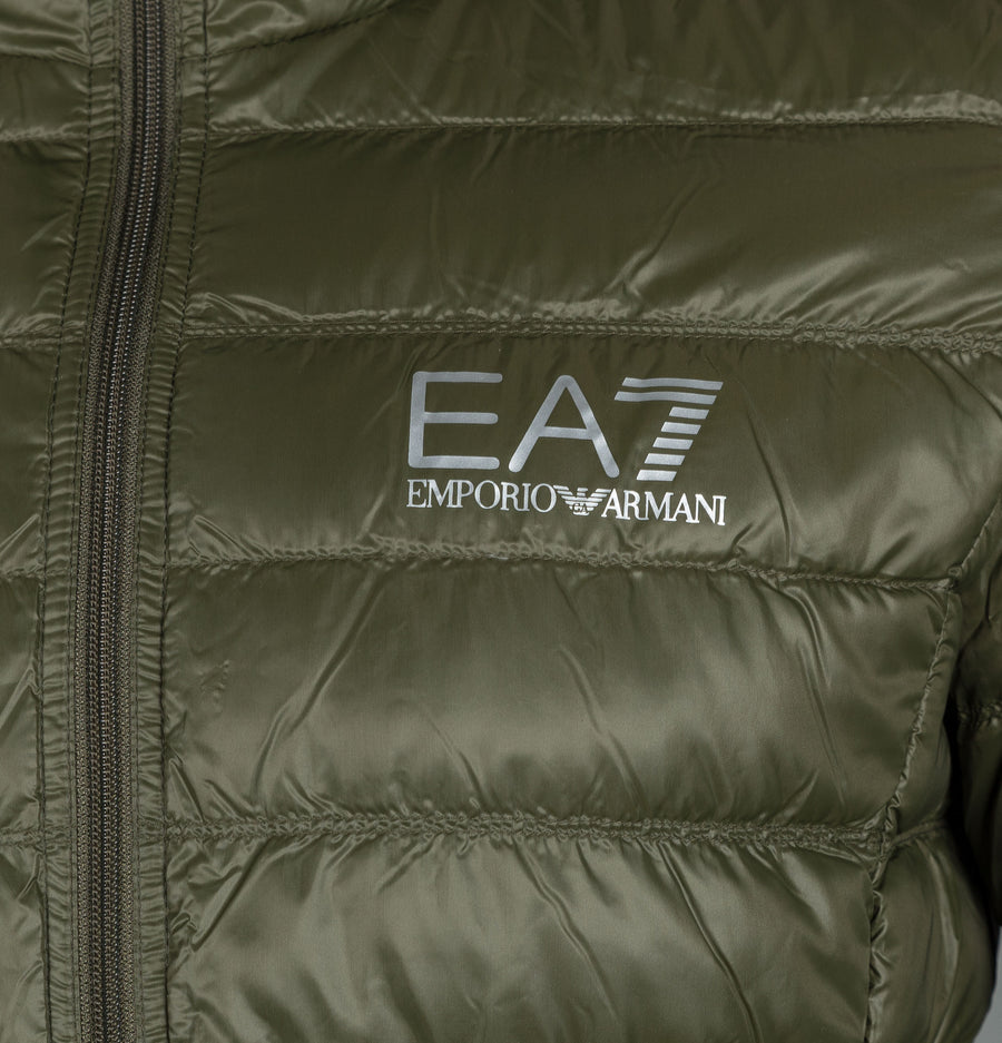 EA7 Quilted Down Hooded Jacket Forest Night