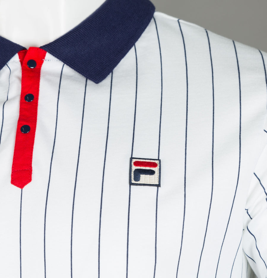 Fila Vintage BB1 Borg Striped Polo Shirt White