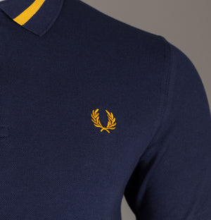 Fred Perry Abstract Collar Polo Shirt Carbon Blue