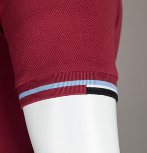 Fred Perry Abstract Collar Polo Shirt Dark Red