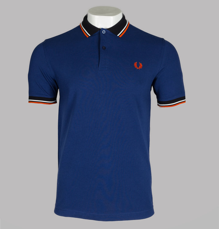 Fred Perry Contrast Rib Polo Shirt Medieval Blue