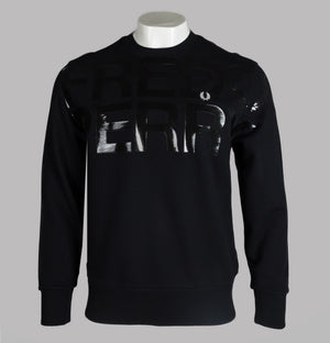 Fred Perry Large Logo Vinyl Print Sweatshirt Black