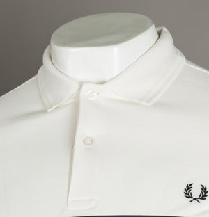 Fred Perry Printed Panel Polo Shirt Snow White