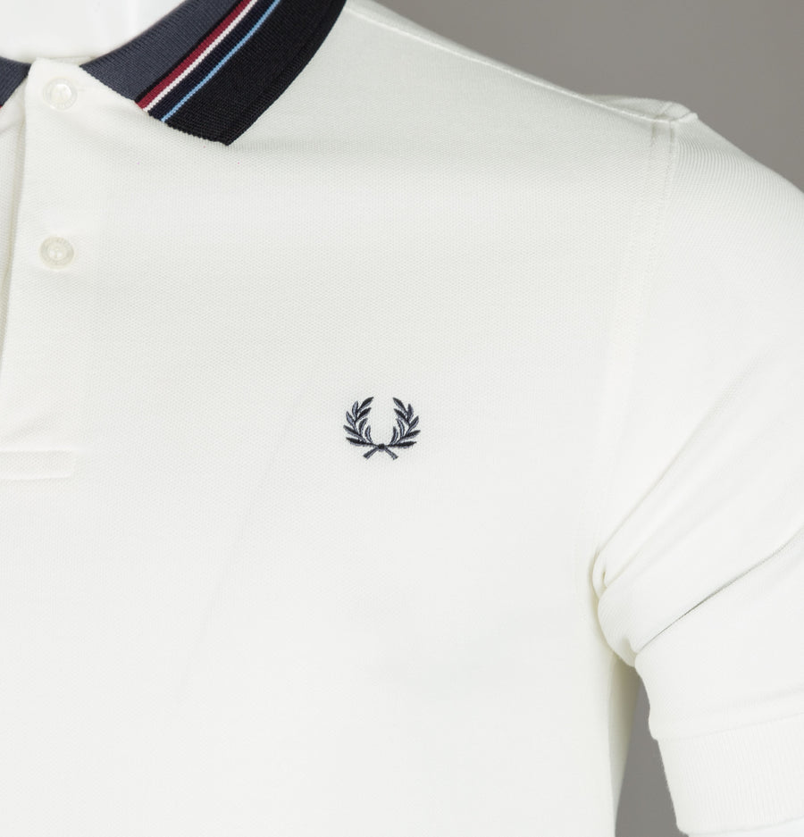 Fred Perry Stripe Collar Pique Polo Shirt Snow White