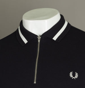 Fred Perry Vinyl Tipped Collar Polo Shirt Black