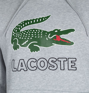 Lacoste Embroidered Signature Logo Hooded Sweatshirt Light Grey