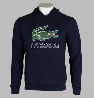 Lacoste Embroidered Signature Logo Hooded Sweatshirt Navy