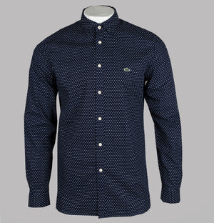 Lacoste Motion Slim Fit Print Poplin Shirt Navy