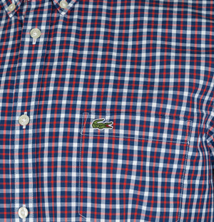 Lacoste Regular Fit Contrast Check Cotton Poplin Shirt Navy