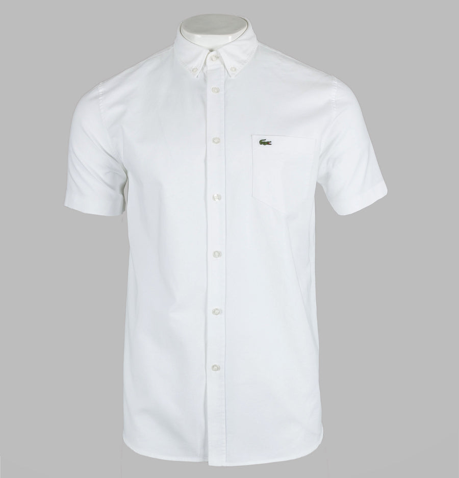 Lacoste Regular Fit Short Sleeve Oxford Shirt White