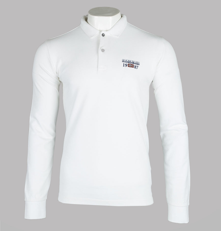 Napapijri Erthow Long Sleeve Polo Shirt Bright White