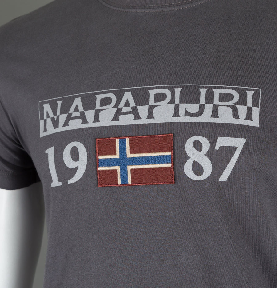 Napapijri Solin Short Sleeve T-Shirt Dark Grey
