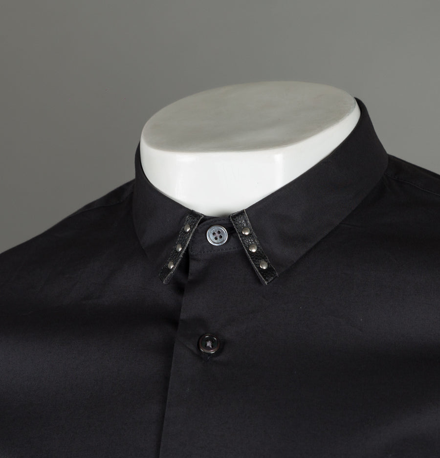 Pretty Green Stud Collar Detail Shirt Black
