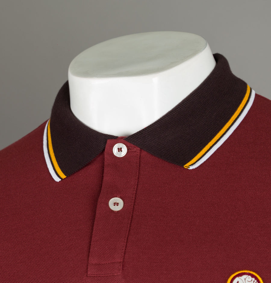 Pretty Green Contrast Tipped Pique Polo Shirt Red