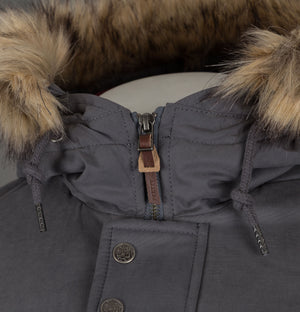 Pretty Green Hooded Parka With Padded Lining Grey