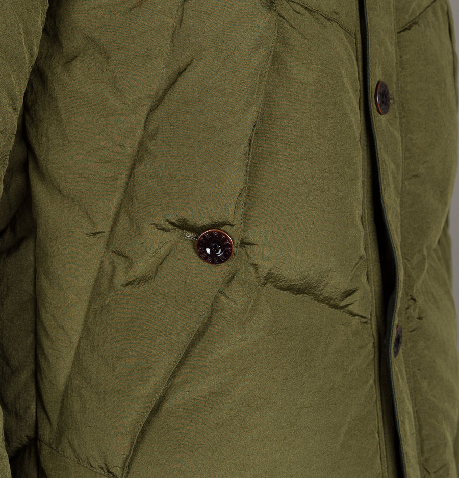 Pretty Green Quilted Hooded Jacket Khaki