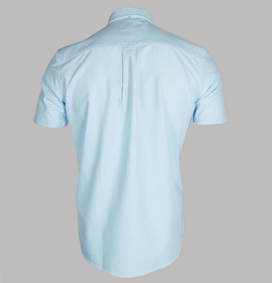 Pretty Green Short Sleeve Classic Fit Oxford Shirt Light Blue