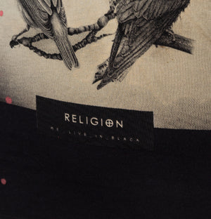 Religion Birds Skull T-Shirt Black