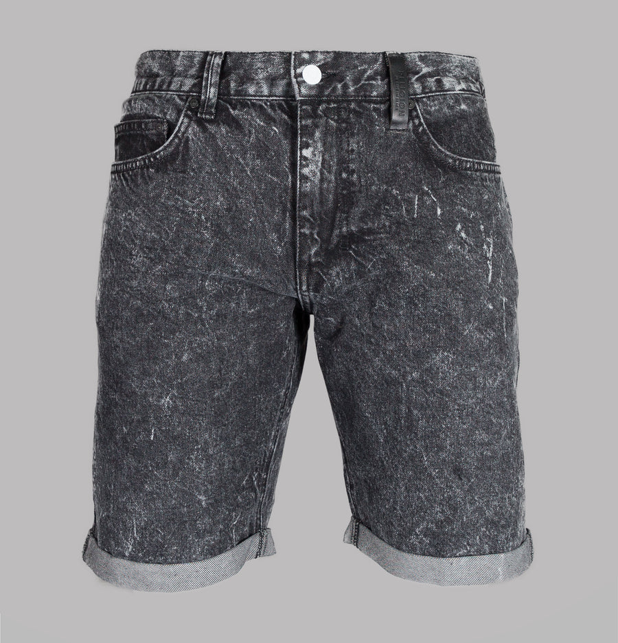 Religion Blurred Denim Shorts Grey