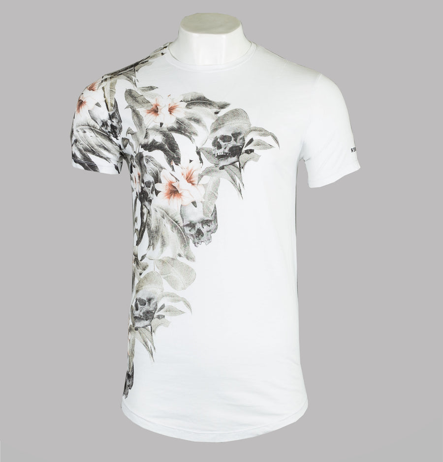 Religion Botanical Curved Hem T-Shirt White